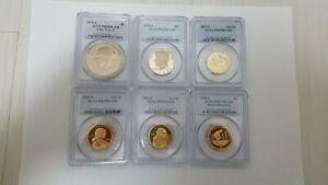 Lot 6 USA coins: 5*1 dollars +1/2 dollars PCGS Slabs 1976-2009
