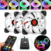 3PCS 120mm Adjustable RGB LED Light Computer Case PC Cooling Fan with IR