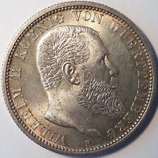 WÜRTTEMBERG Kaiserreich ** f.st ** 2 Mark 1896 F *ERHALTUNG!* Wilhelm II.
