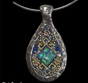 """Israeli Orit Schatzman Faux Opal Blue Crystal 925 Sterling Pendant Necklace 18"""""""