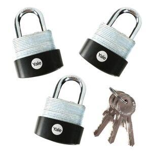 Brass Padlock - High Quality Indoor Lock for Locker 40 mm Backpack Standard Security Tool Box Yale Y110B//40//122//1 3 Keys