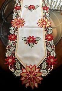 """Christmas Holiday Decor Table Runner Shimmery Gold Sequin Poinsettia, Ivory 69"""""""