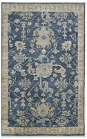 "Hand Knotted Oushak Indigo Wool Tribal New Oriental Area Rug Carpet 5'3"" x 8'3"""