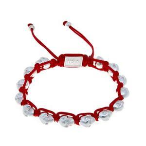 King Baby Jewelry Macrame Red And Silvertone Skulls Bracelet Hsn $70