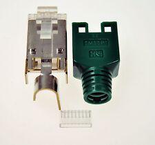 10 Stück Hirose Modularstecker TM11 RJ45 für Patchkabel grün mit Kämmchen Tülle