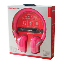 Pink Foldable Girls Kids Childs Over-Ear DJ Headphones with Splitter Cable 3.5mm