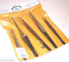 NOS GROBET USA 5 pc Watchmakers Jewelers Machinists Electronics TWEEZERS  KIT