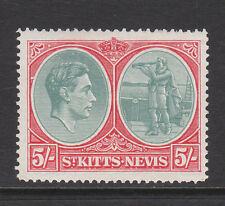 ST KITTS 1938-50 5/- WITH BREAK IN OVAL AT LEFT SG 77bd MINT.