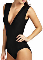 Womens Black  Plunge V-Neck* Sleeveless* Bodysuit Leotard Top