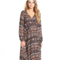 VOLCOM Stone Row Collection Wrapture Long Sleeve Maxi Dress Festival SZ M
