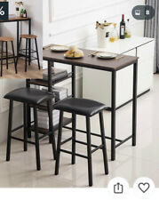 Simple 3 Piece Pub Dining Set With 2 Bar Stools For Kitchen Dining Room
