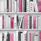 Papel pintado Muriva - Moda biblioteca estantería - Libros - EN ROSA - 139501