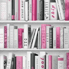 Wallpaper Muriva - Fashion Library Bookshelf - Library Books - In Pink - 139501