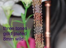 8mm wild three tone bracelet 8 inch long