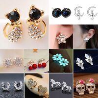 Womens Mini Flower Cat Crystal Rhinestone Ear Stud Earrings Wedding Jewellery