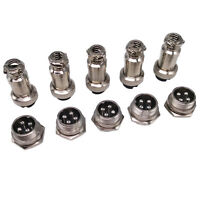 US Stock 5 Pair Aviation Plug 4 Pin Male Female Panel Wire Connector 16mm GX16-4