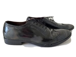MOMA Men's Black Patent Leather Distressed Lace Up Shoes Sz 43