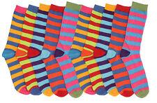 6 Pairs Men Socks Funky Multi Colors Design Stripes Socks Cotton Blend UK 6-11