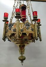Magnifiscient Gothic 19th Century Catholic Church Gilt Bronze Sanctuary Lamp Wow