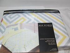 3 pcs MAX STUDIO Home Yellow, Grey and White King Duvet Cover & Shams Set  NEW