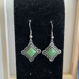 Carolyn Pollack's Relios Vintage Earrings, Green Turquoise, Dangles