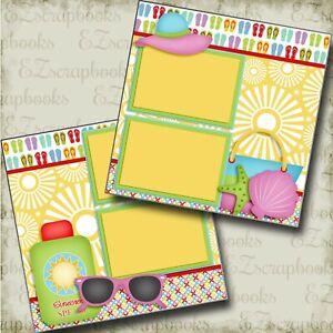 Beach Essentials - 2 Premade Scrapbook Pages - EZ Layout 3798