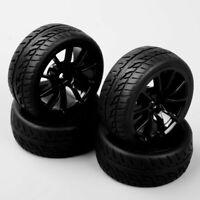 HobbyGo 4pcs 1:10 RC On Road Speed Racing Car Rubber Tires & Wheel Rims C12NK