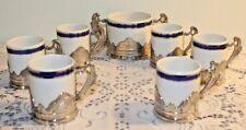 Vintage Weidmann Porzellan 6 Demitasse Cup Set Metal Holders Sugar