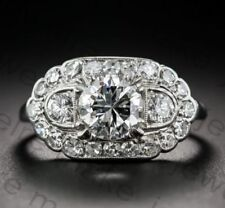 Certified 2.00ct White Round Diamond Vintage Art Deco Engagement 14K Gold Ring