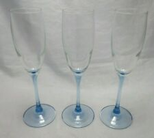 Blue Stem Clear Glass Bowl Champagne Flutes Set of 3