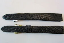 Two New Genuine Lizard Black Men's Wristwatch Bands - Size 5/8 L Silver & Gold