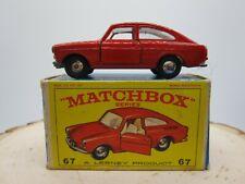 Vintage 1967 Matchbox Lesney #67 Volkswagen 1600 TL with Original Box VW - Minty