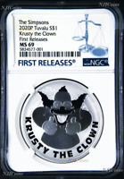 2020 Simpsons Krusty the Clown $1 1oz .9999 Silver COIN NGC MS69 FR Simpson