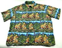 Reyn Spooner Hawaiian Shirt Size XL 100% Rayon Luau Palm Tree Tiki Short Sleeve