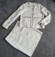 SMART Lanvin  ETE 2010  CREAM LINEN BLEND SKIRT SUIT  Zips & Buttons  Size UK 12