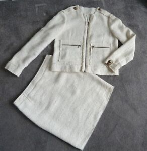 Lanvin  SKIRT SUIT ETE 2010  CREAM LINEN BLEND  Zips & Buttons  Size UK 12 SMART