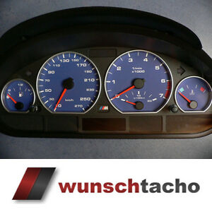 Tachoscheibe für Tacho BMW E46 Benziner *Alpin-Blau*  270 kmh