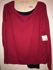 NO BOUNDARIES Juniors 2-PC Lace Back Pajama Set Top/Pants RED/BLACK XL(15-17)NWT
