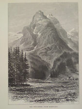 Wellhorn From Rosenlaui Bernese Oberland Switzerland Antique Engraving 1878