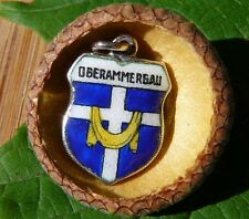 VINTAGE 800 SILVER enamel OBERAMMERGAU Germany shield CHARM (C-154)
