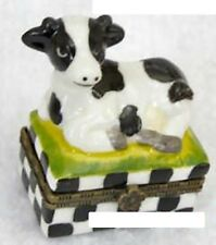 Cow- Porcelain-Hinged-Box- Small Holstein Resting On Checkered Base