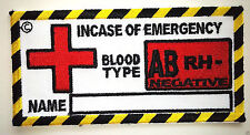 Blood Type Patches, Military Patches, Biker Patches, AB RH - Negative