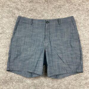 Calvin Klein Mens Shorts Size 36 Blue Chino Pockets Zip Linen Blend 110.07