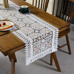 Lace Table Runner Hollow Embroidered Europen TV Cabinet Tablecloth Cover Home