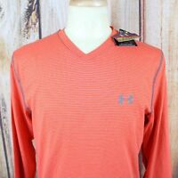 Under Armour Men's Infrared Shirt Large NEW L/S V-Neck Fitted Cold Gear Orange