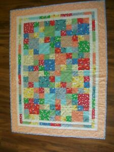 "35"" x 56""  ""Babies"" 100% Cotton Throw Quilt Repro 30s Prints Baby Animals Bright"