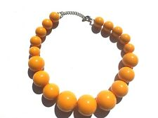 """19"""" Yellow Chunky Bead Necklace - Statement Piece"""