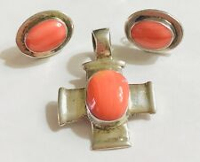 MEXICO 925 STERLING SILVER SPINY OYSTER LOT EARRINGS CROSS SET PENDANT