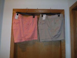 Sonoma Mini Shorts size plus 24 W color  Peach & Mushroom Beige 97% cotton NWT