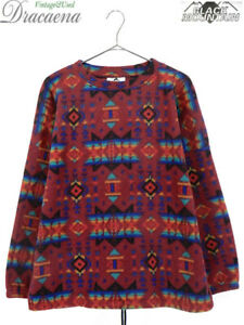 BLACK MOUNTAIN Native Chimayo Pullover Fleece Jacket Wine-red Size M Used